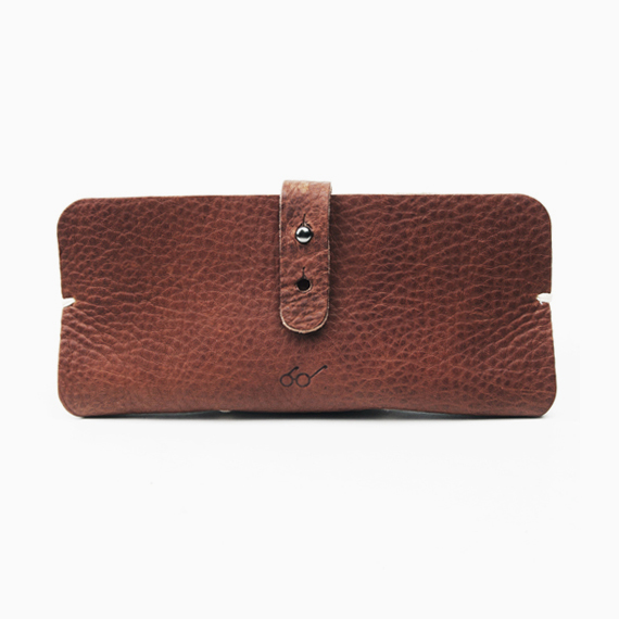 SAGAWAFUJII Genuine Leather Pouch for Glasses (dark brown)