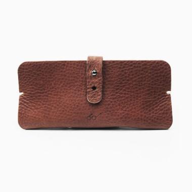 SAGAWAFUJII Genuine Leather Pouch for Glasses (dark brown)